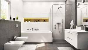 Modernes Bad in grau und weiß