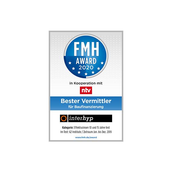 FMH Award 2020 als bester Vermittler für Baufinanzierungen
