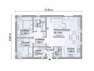 barrierefreies Haus - ScanHaus Marlow - Bungalow SH 95 B Variante C - Grundriss