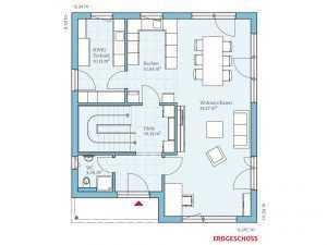 Bauhausstil - HANSE HAUS Cubus 162 Grundriss EG
