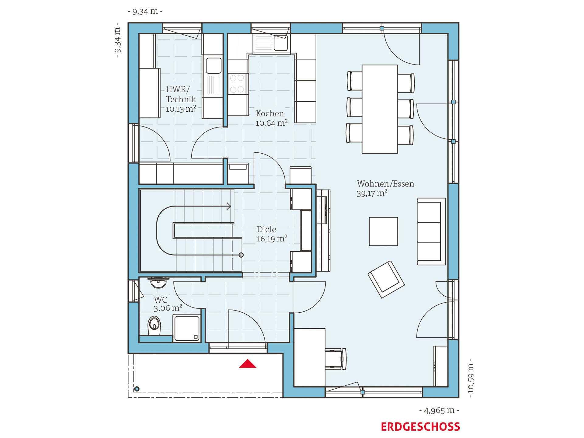 Bauhausstil   HANSE HAUS Cubus 162 Grundriss EG