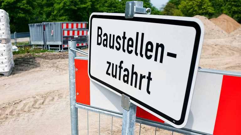 Baustellenausfahrt Schild
