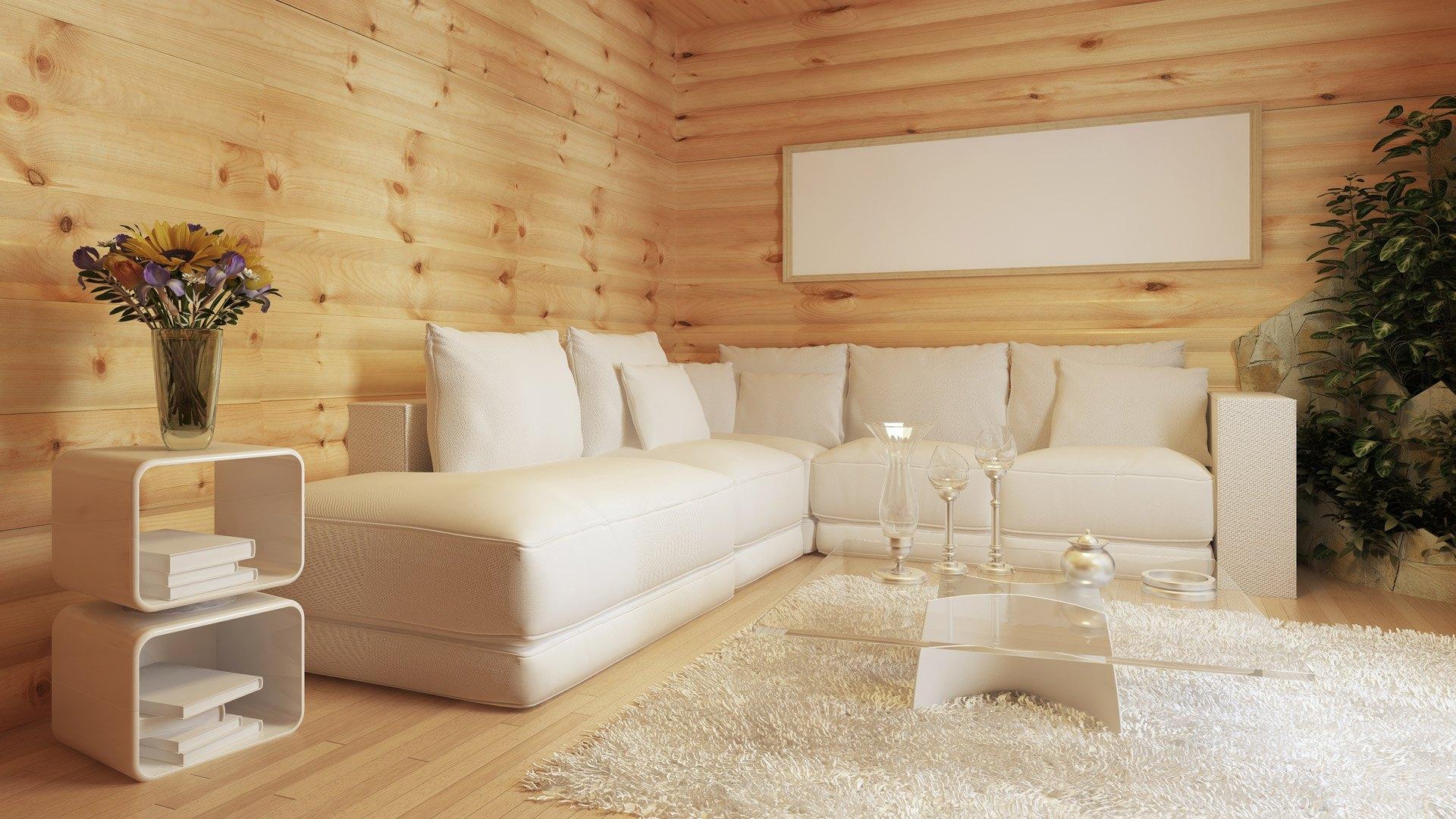 Holzhaus mit moderner Inneneinrichtung