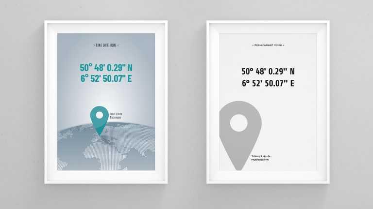 Bilderrahmen: Breitengrad Längengrad Koordinaten Haus