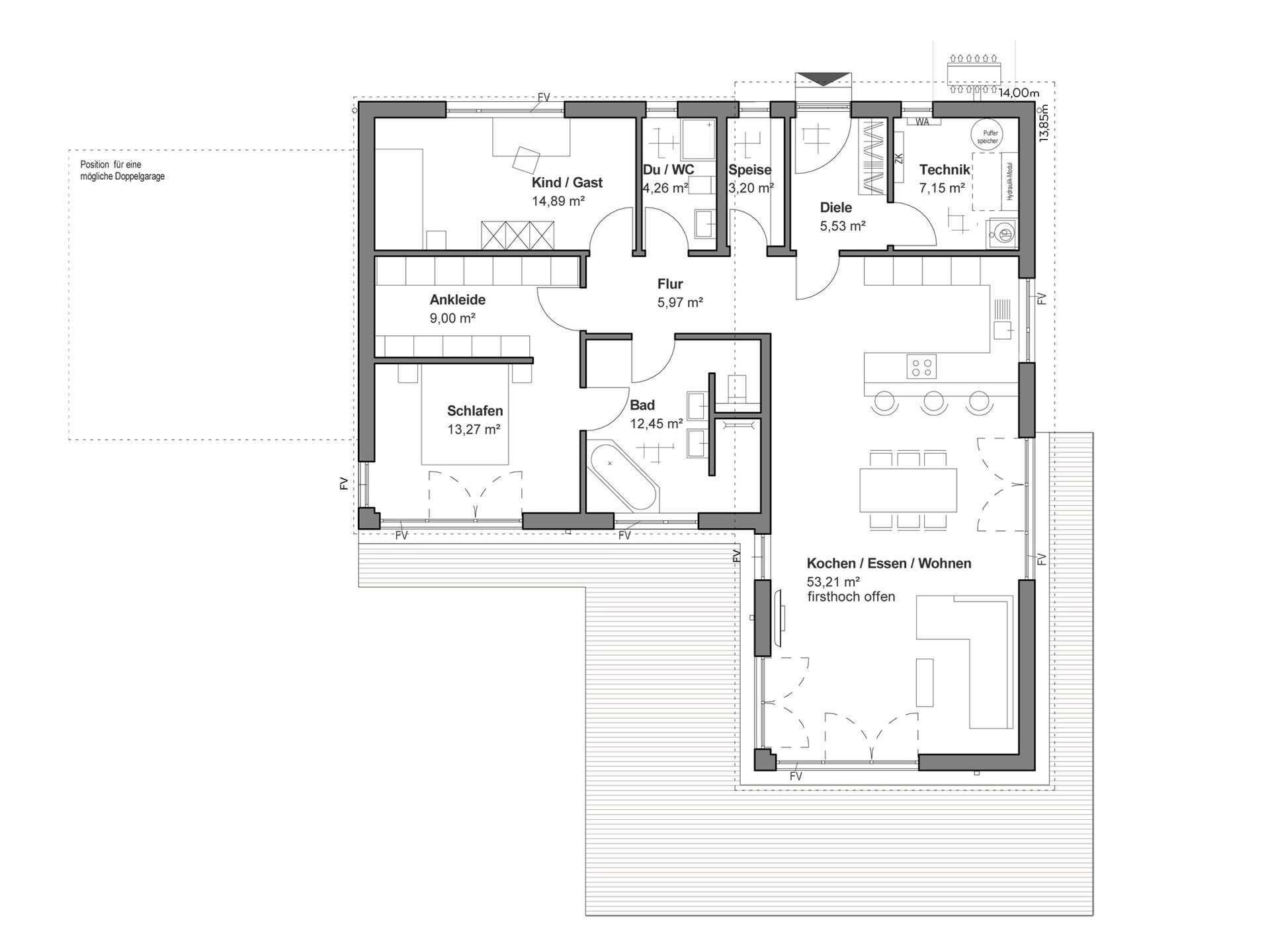 Musterhaus bungalow l form  ▷ Bungalow bauen - Anbieter, Preise & Grundrisse im Überblick