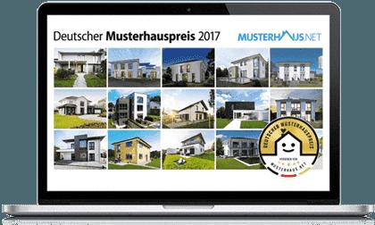 Laptop mit den Musterhauspreisteilnehmern  2017