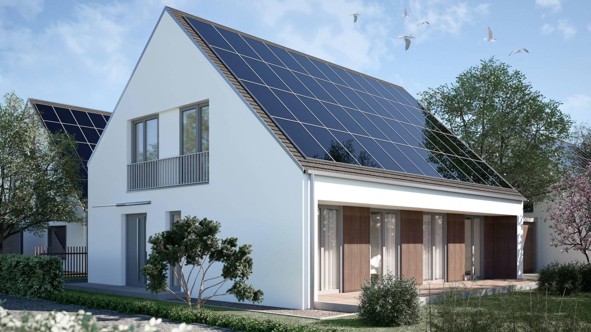Einfamilienhaus Effizienzhaus Plus-Siedlung<br />