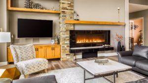Effizienzhaus Wohnzimmer mit Kamin