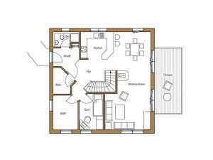 Frammelsberger Holzbau – Holzhaus 131 Grundriss EG