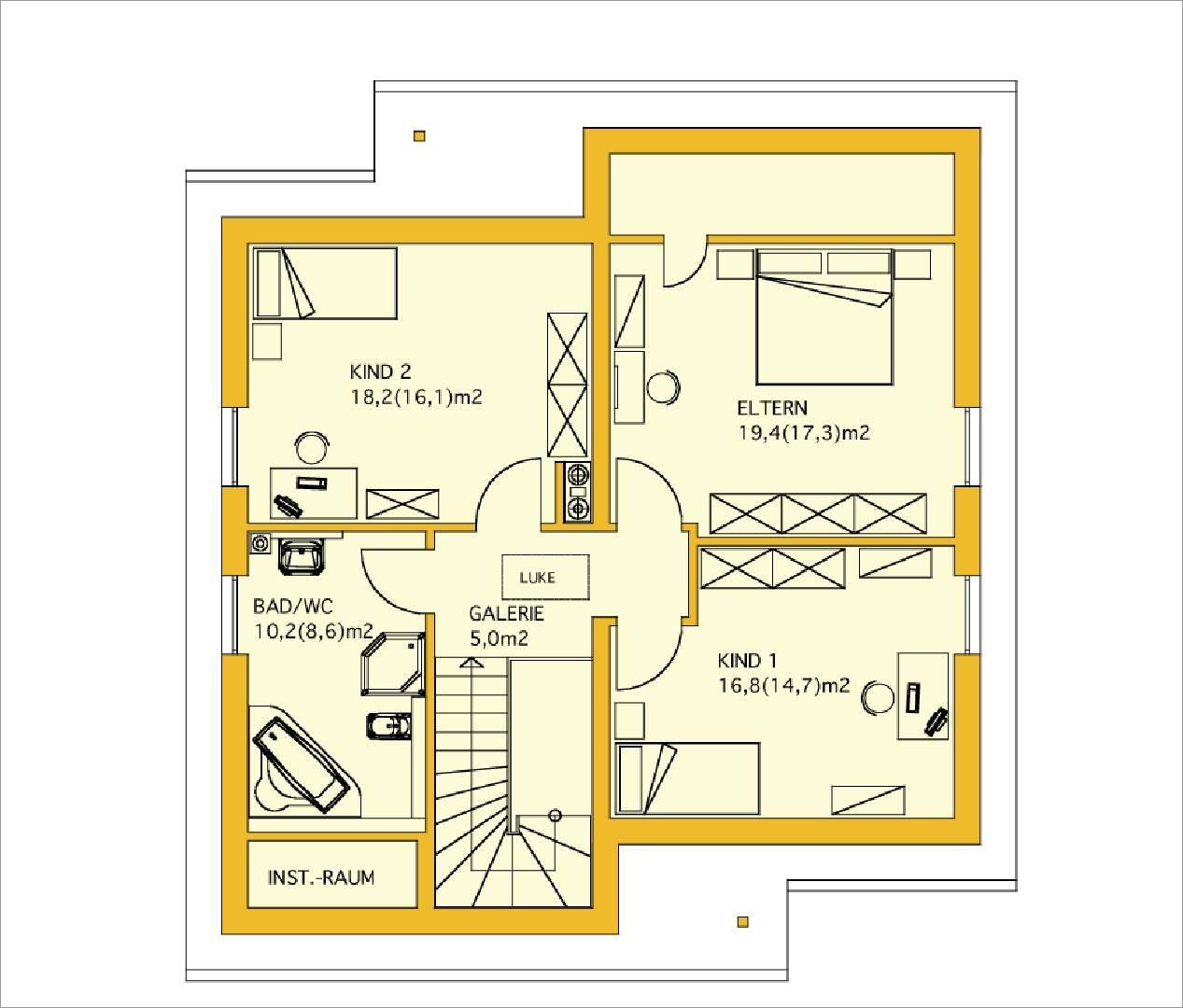 Innovationshaus 140 Grundriss Obergeschoss