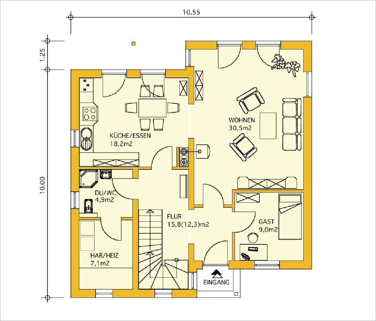 Innovationshaus 140 Grundriss Erdgeschoss