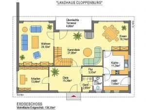 Landhaus Cloppenburg - ideal-heim-bau Grundriss EG