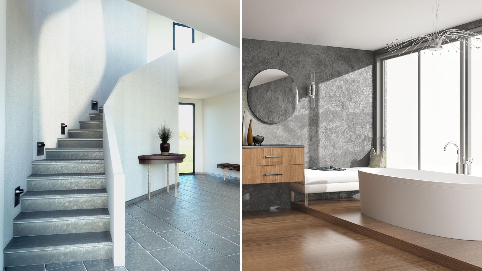 Edle Treppe mit geputzter Mauer und großes Badezimmer mit Designer-Wanne