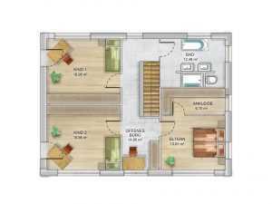 Massivhaus Dennert Modulhaus ICON 4XL Grundriss OG