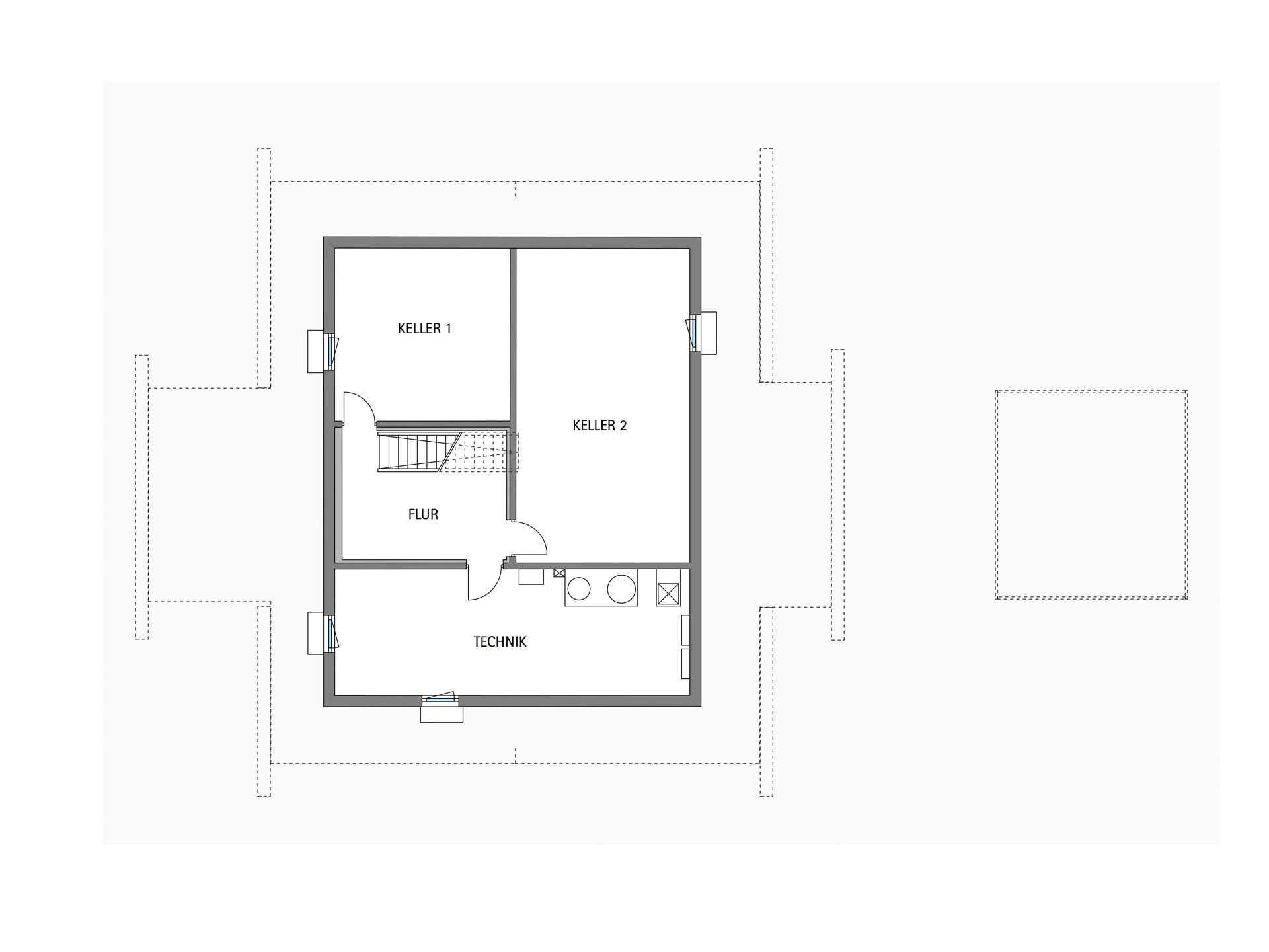 Modernes Fachwerkhaus   HUF HAUS ART 4 Grundriss Keller