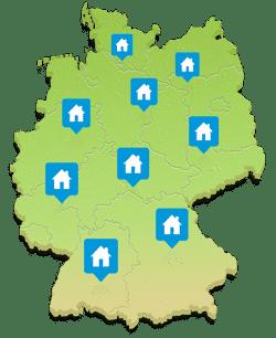 Deutschlandkarte mit Musterhäusern