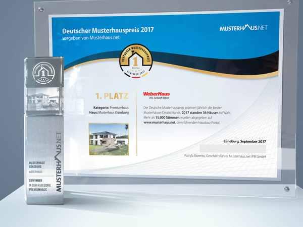 Urkunde zum Deutschen Musterhauspreis 2017