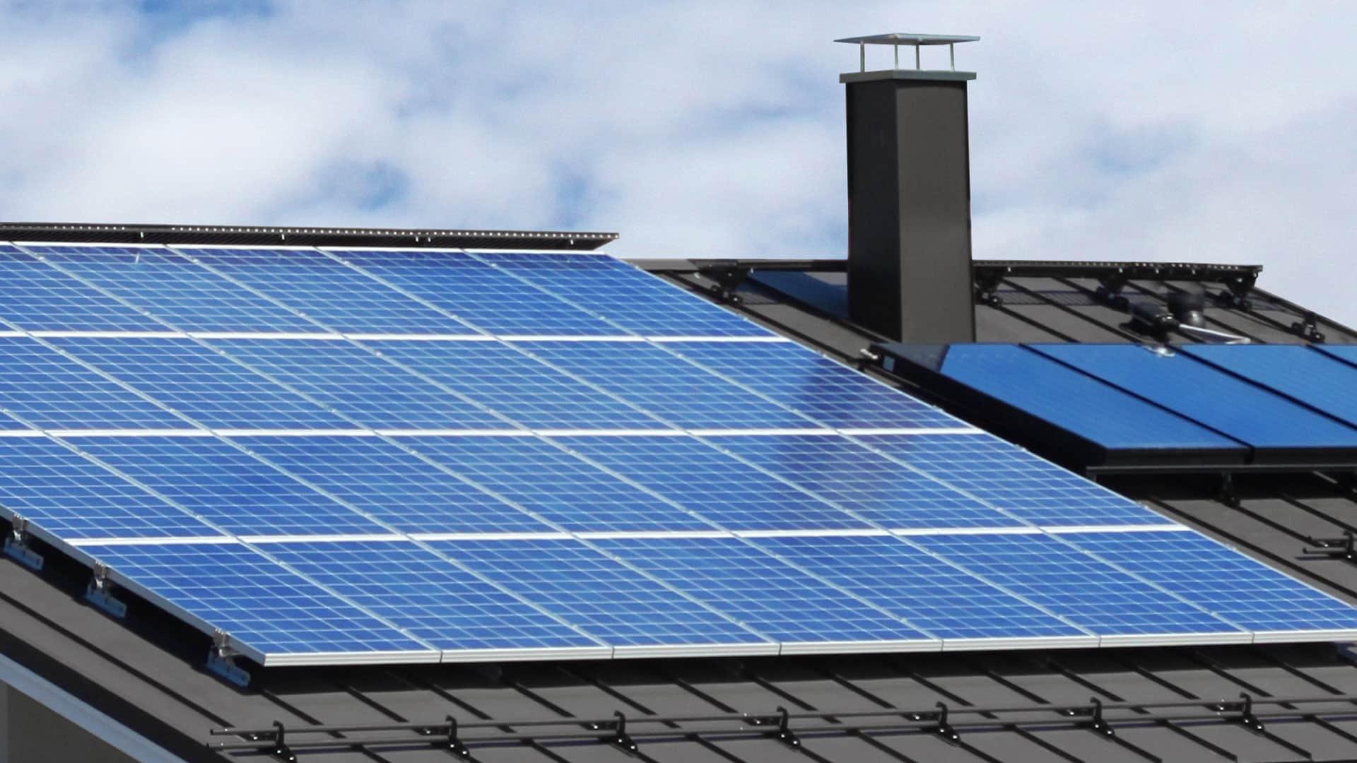 Nahaufnahme Photovoltaik-Anlage