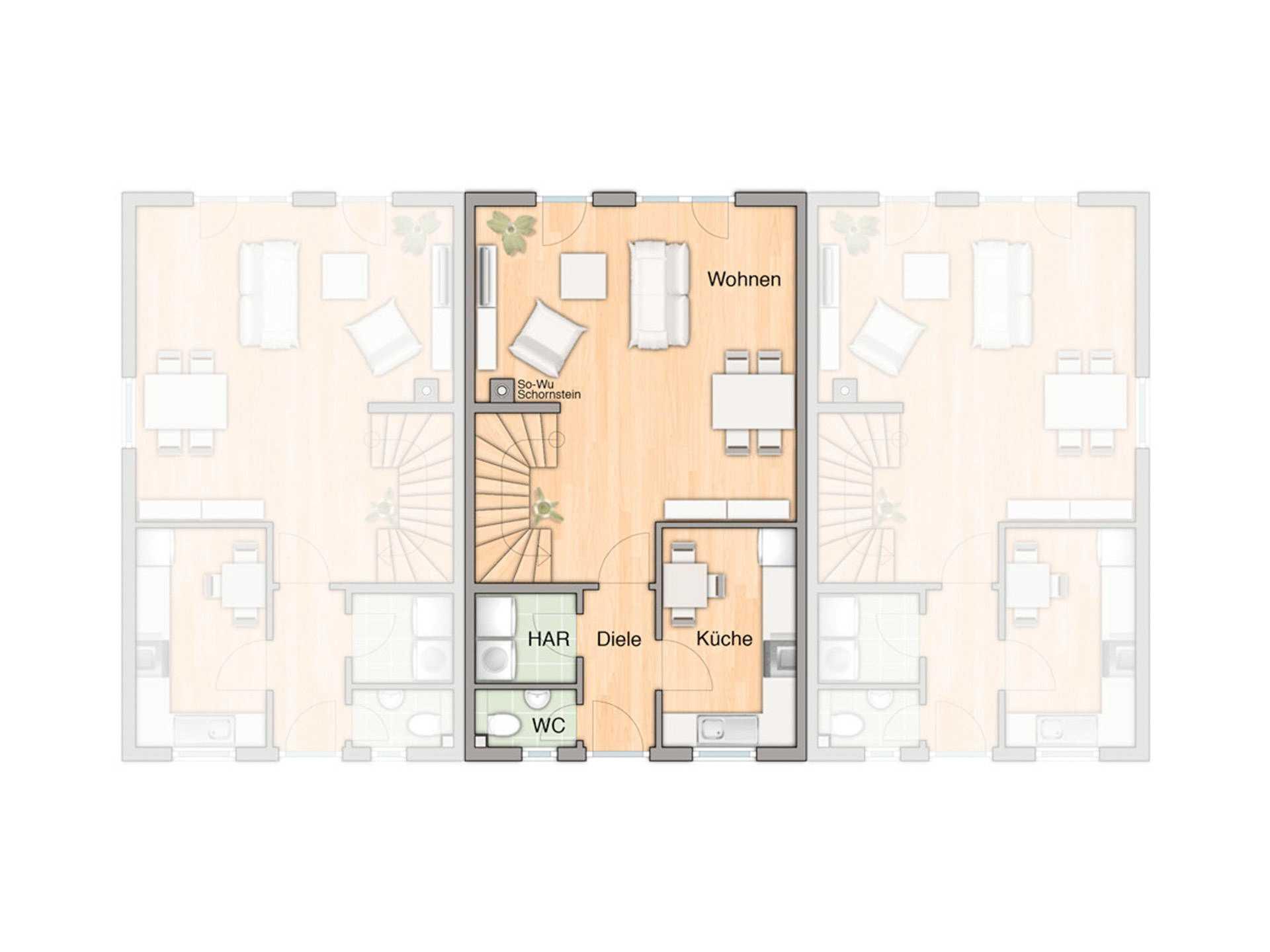 reihenhaus bauen hausbeispiele mit grundrissen infos. Black Bedroom Furniture Sets. Home Design Ideas