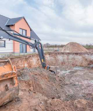 Baugrube für den Keller