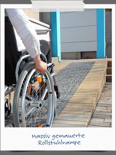 Massiv gemauerte Rollstuhlrampe