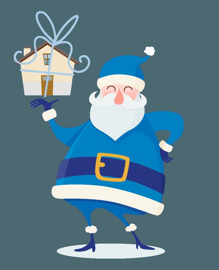 Santa mit Hausgeschenk