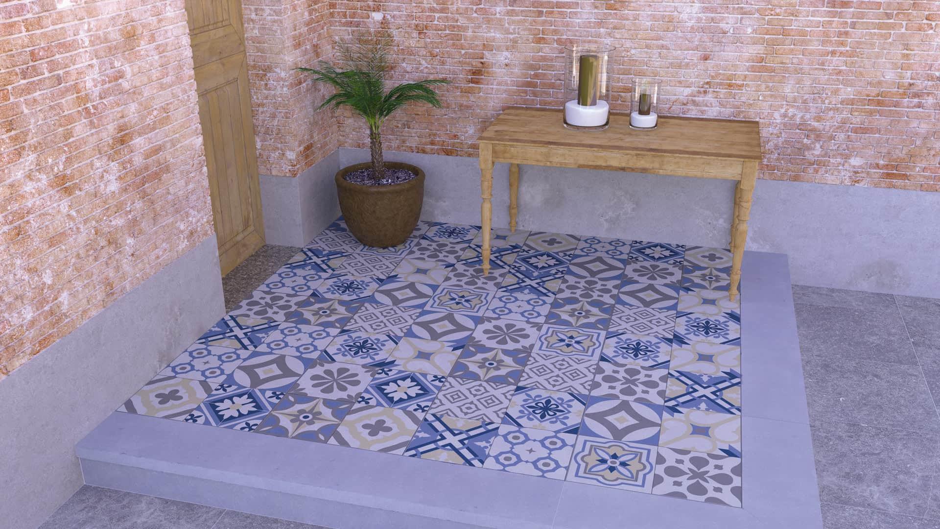 Terrassenplatten Beton Mosaik