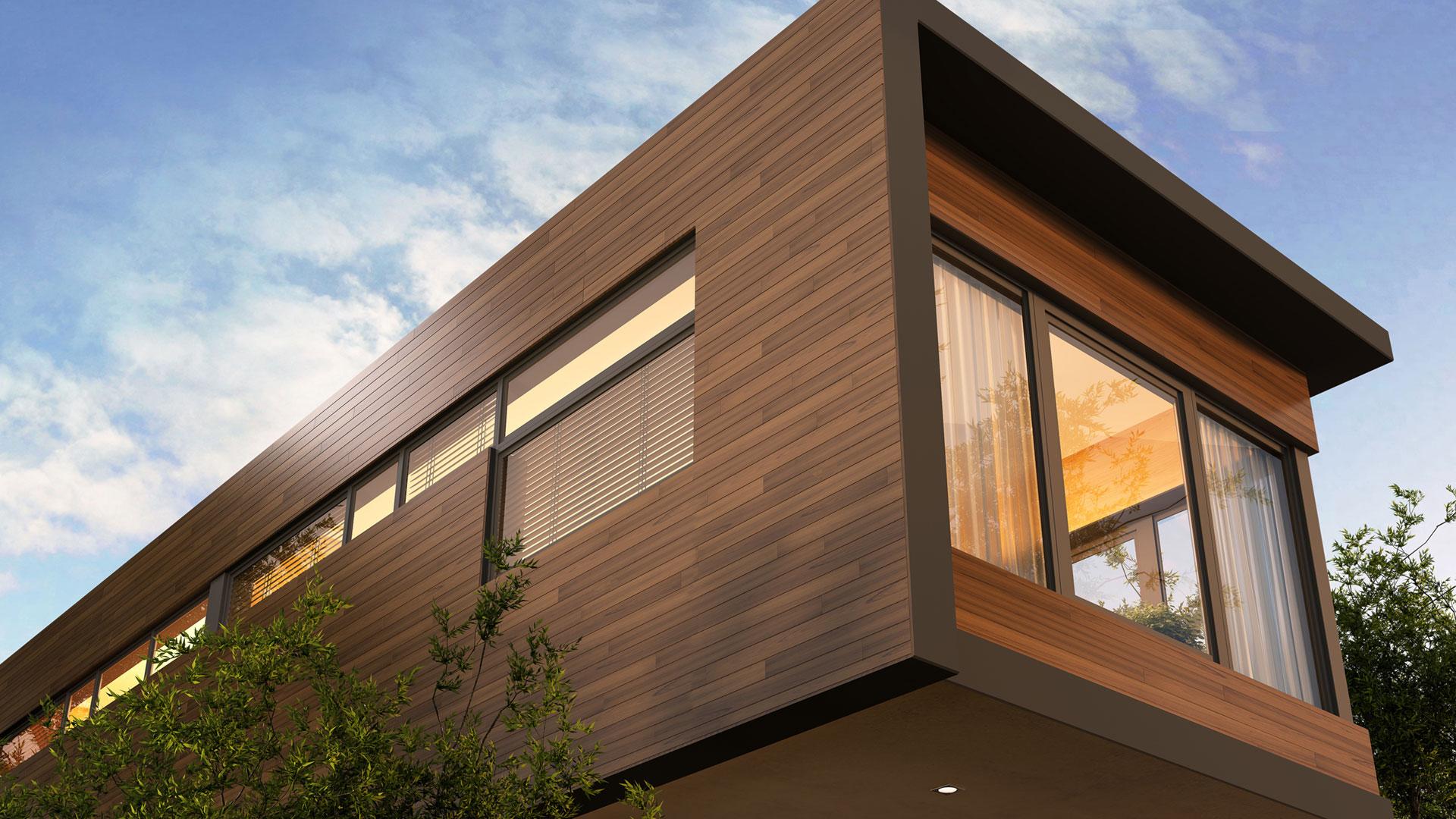 Haus mit Holzfassade in Dämmerung