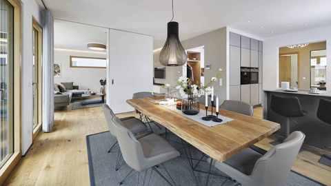 Wohn-Essbereich im Musterhaus CityLife 600 von WeberHaus