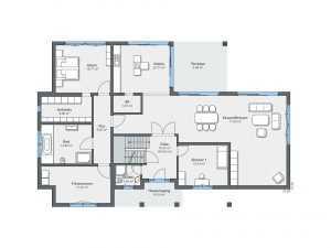 WeberHaus – Luxusvilla im Bauhaus-Stil Grundriss EG