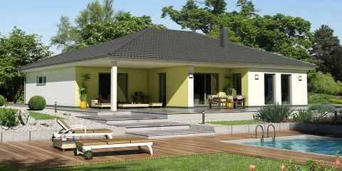Bungalow mit rechteckigem Dach