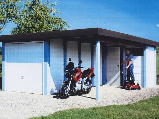 3S Fertiggarage-Geräteraum-Carport-Kombination.