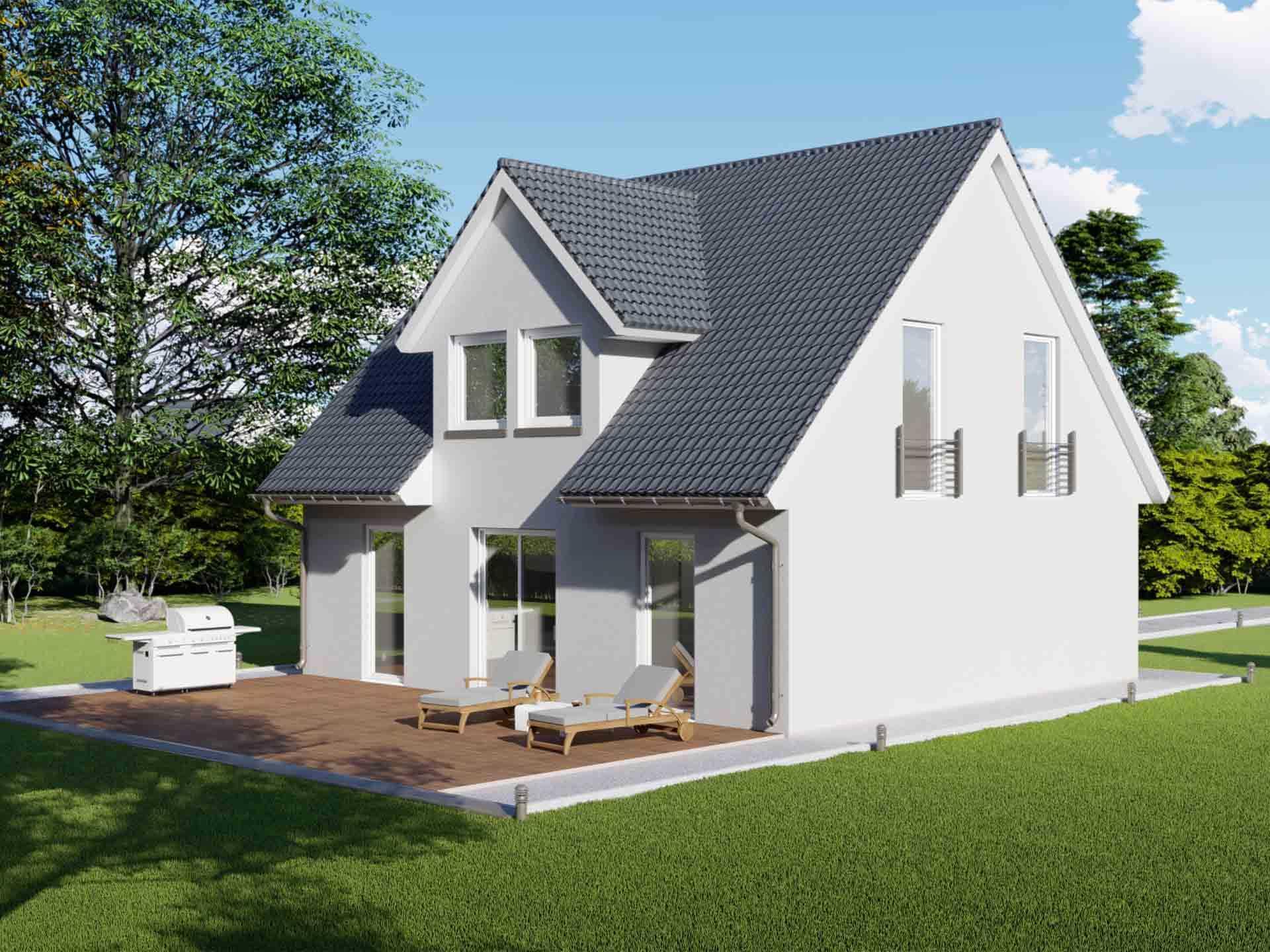 Einfamilienhaus mit 125 qm² und Trapezgaube - VODIES Massivhaus