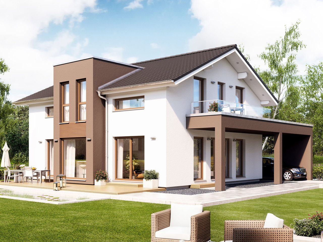 Bien zenker gmbh fertighausanbieter grundrisse for Haus mit erker modern