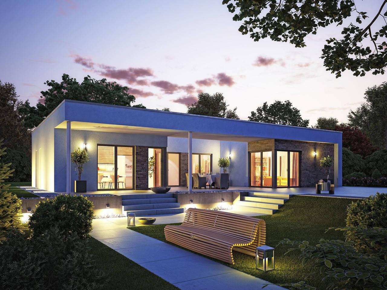 OKAL Haus Hausentwurf Bungalow U-Form