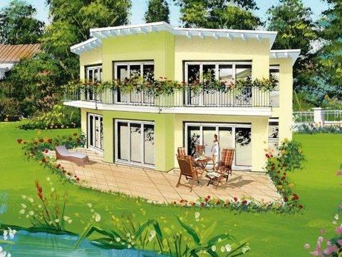 Aussenansicht auf die kreativ gestaltete Fassade mit Blick auf die Terrasse.