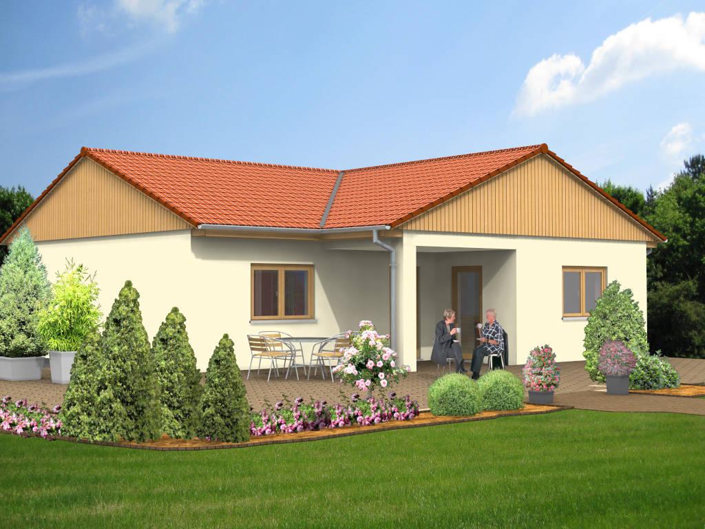 Winkelbungalow Satteldach Holzgiebel 91qm