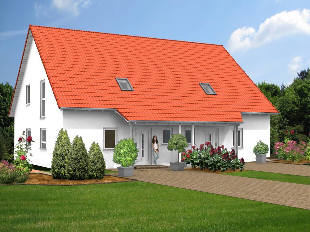 Doppelhaus Putzfassade Gaube 110qm