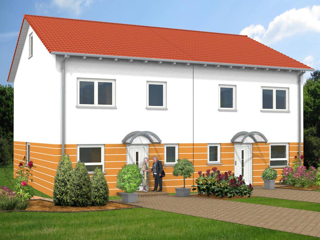 Doppelhaus Satteldach Putzfassade 135qm