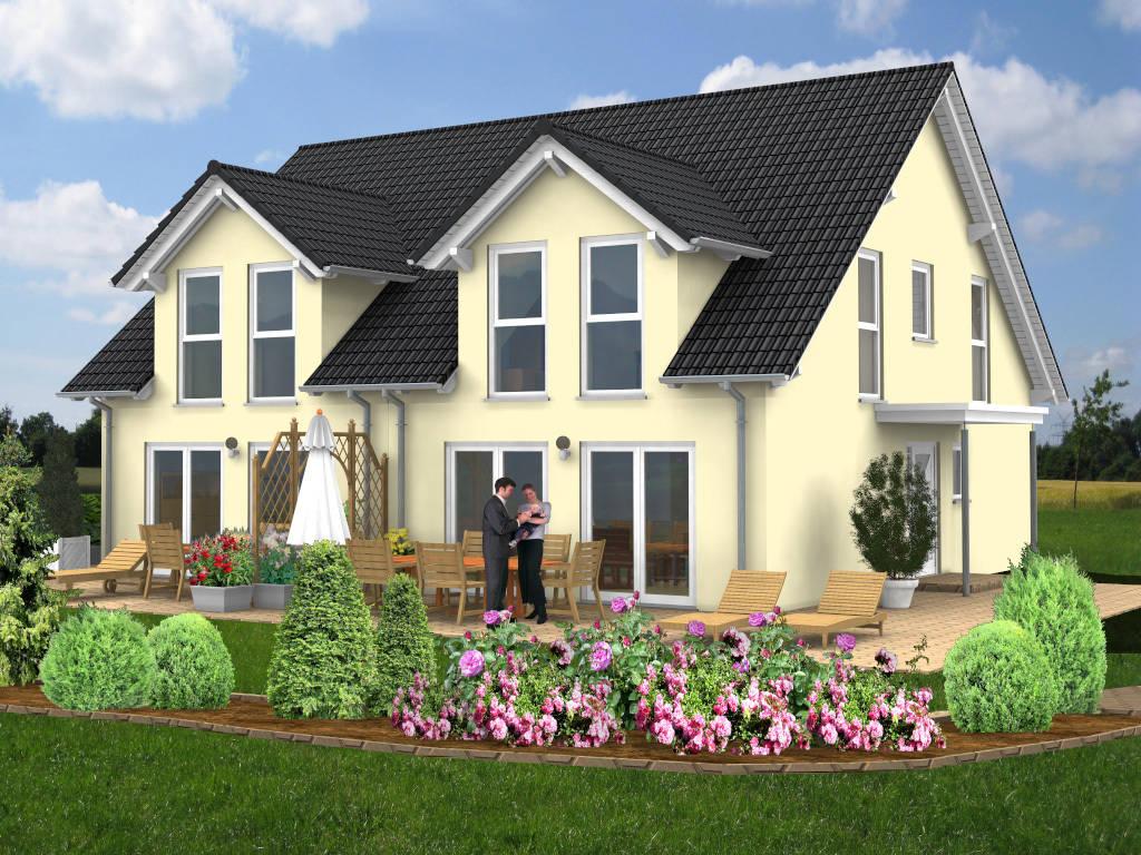 Doppelhaus Satteldach Gaube 100qm
