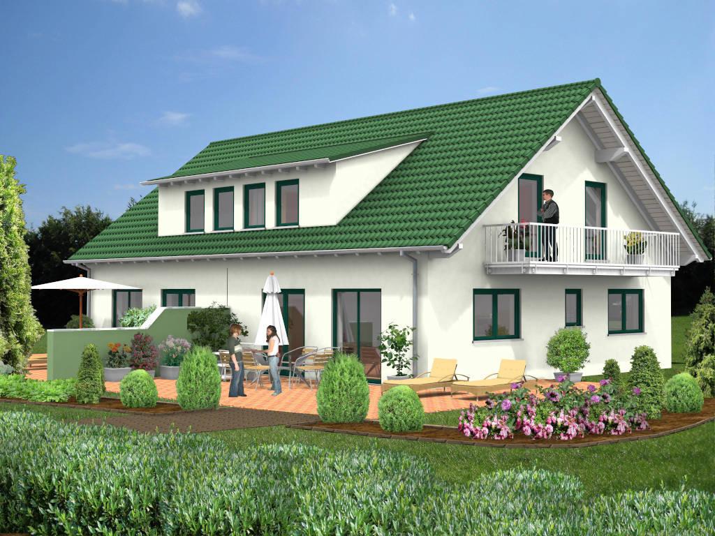 Doppelhaus Satteldach Balkon 103qm