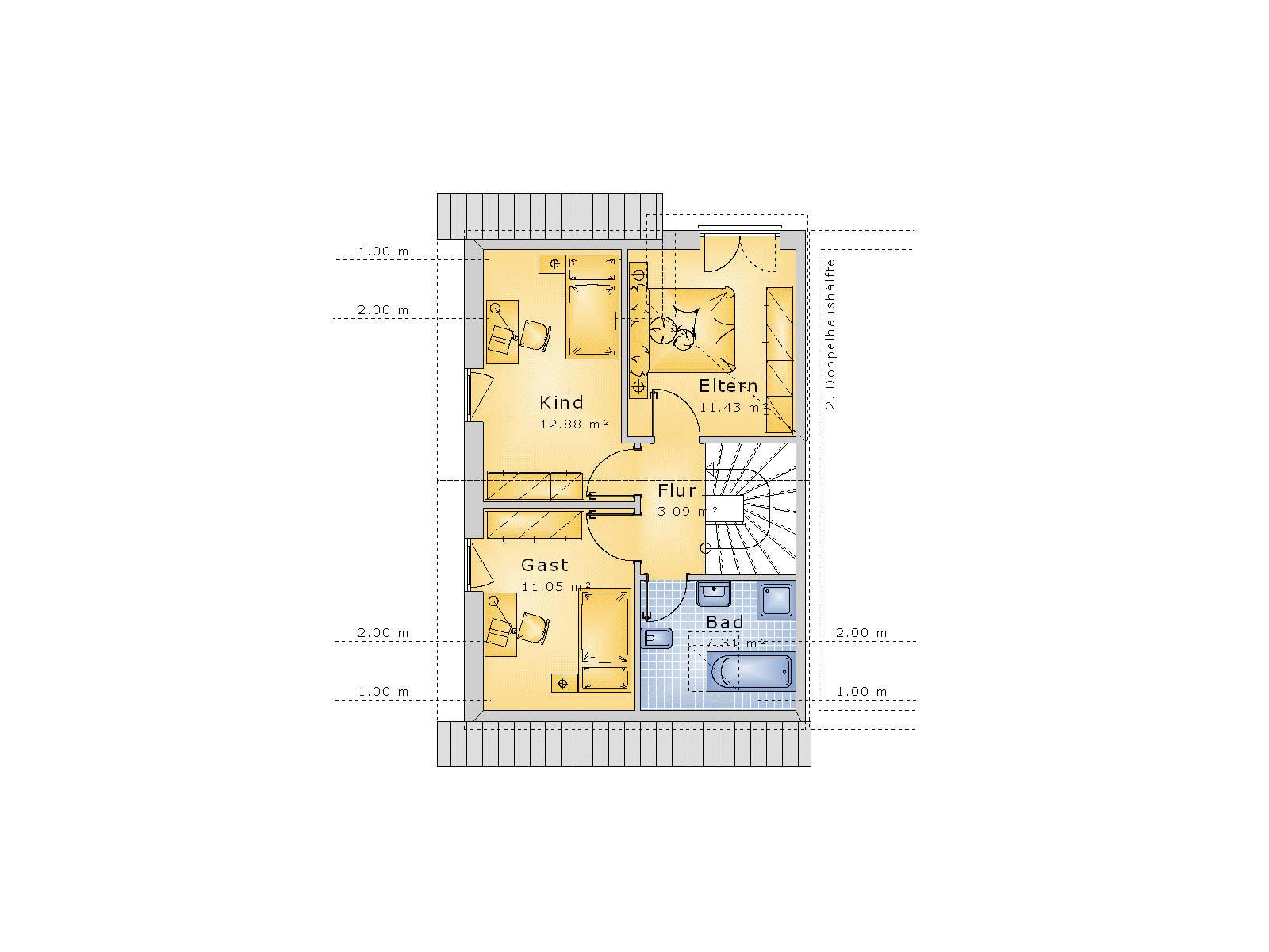 Doppelhaus zwerchhaus gaube 85qm   ihb institut für hausbau ...