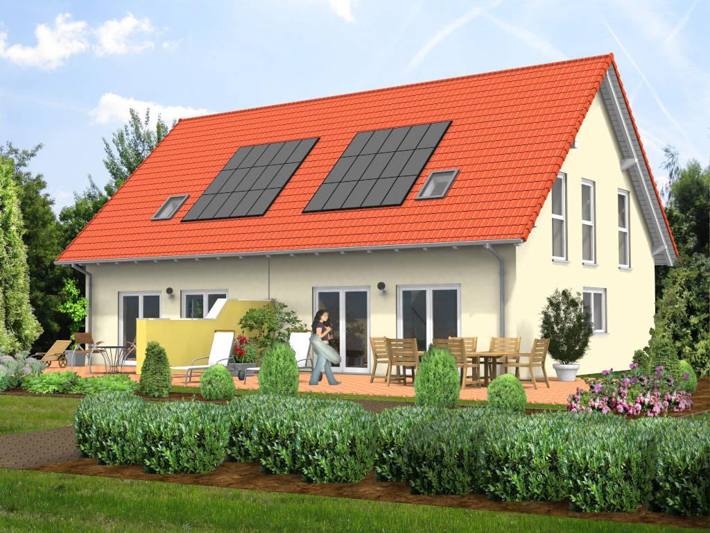 Doppelhaus Putzfassade Satteldach 97qm