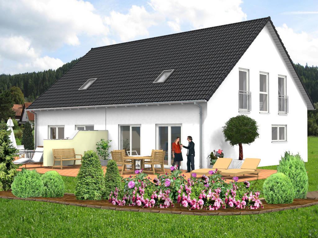 Doppelhaus Putzfassade Satteldach 99qm