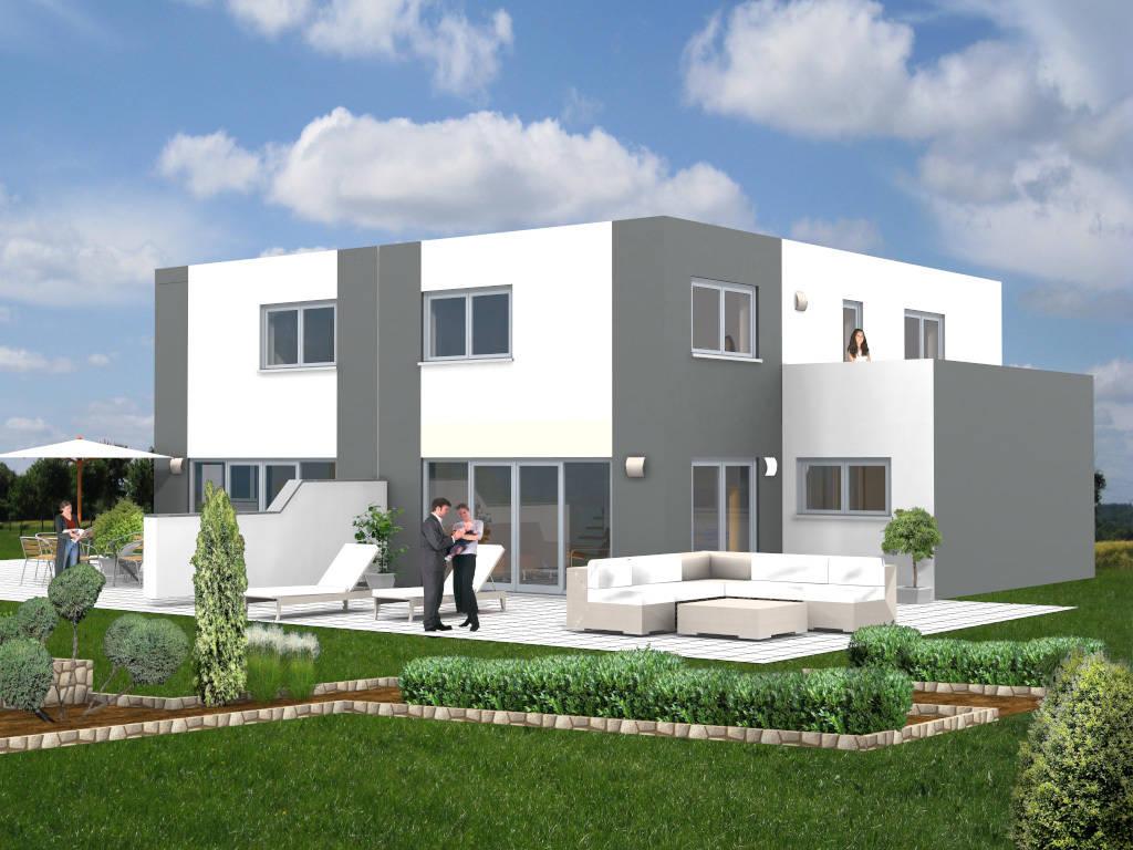 Doppelhaus Flachdach Designer 126qm