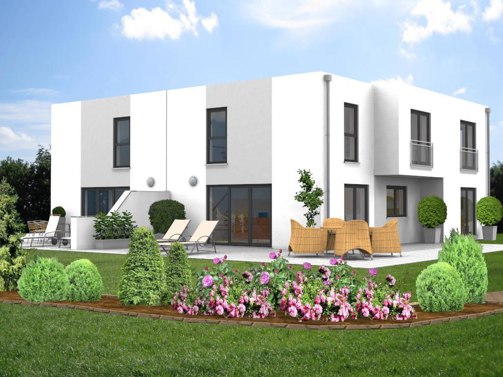 Doppelhaus Flachdach Design 154qm