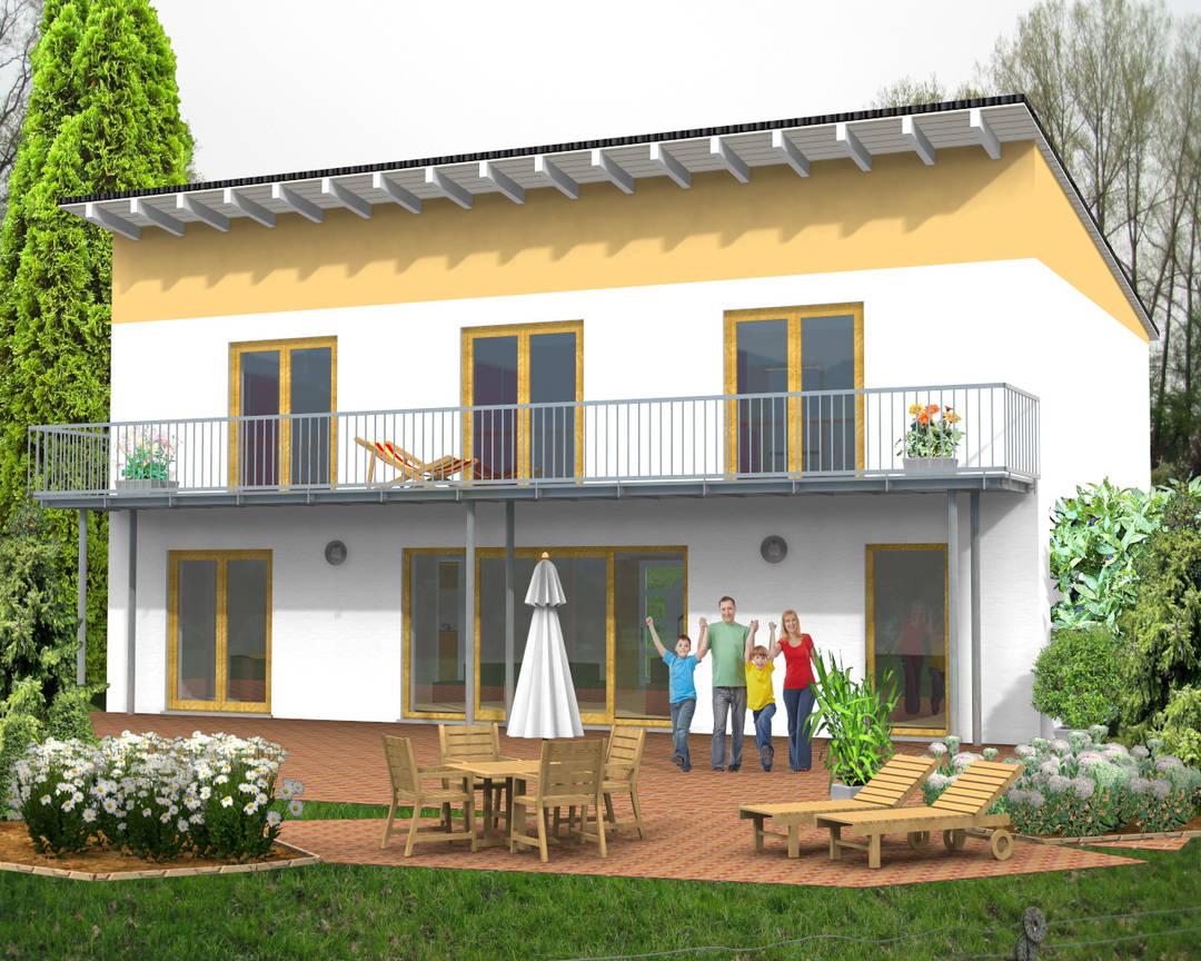 Pultdachhaus Doppelpultdach Balkon 152qm