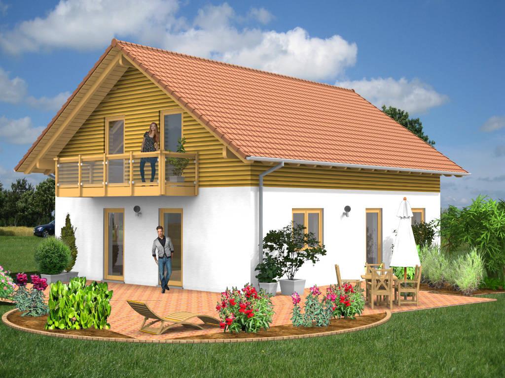 Satteldachhaus Balkon Holz 128qm