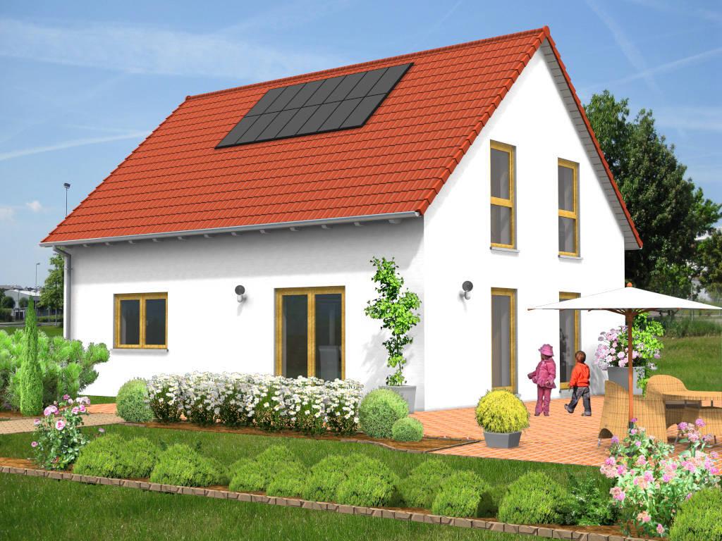 Einfamilienhaus Satteldach Holzfenster 114qm