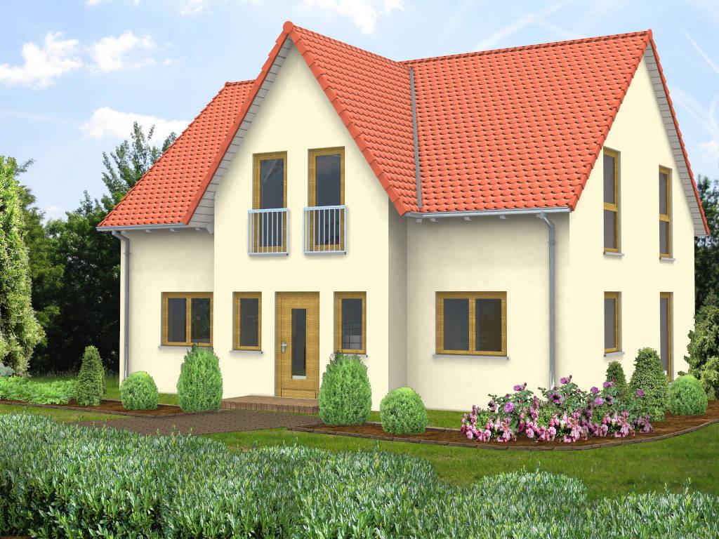 Einfamilienhaus Giebel rotes Satteldach 133qm